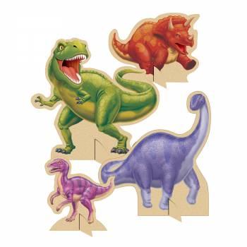 4 Dino-Tisch dekoriert