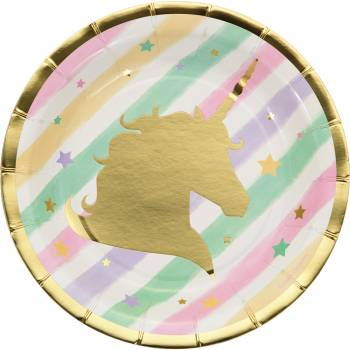 8 Dessert-Teller Einhorn Gold