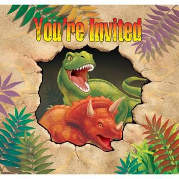 8 Einladungen Dinosaurier + Umschläge