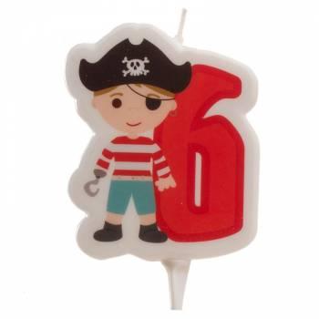 Kerze ziffer 6 Piraten für Kuchen