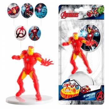 Deco-Set für den Pvc-Kuchen Avengers Iron man