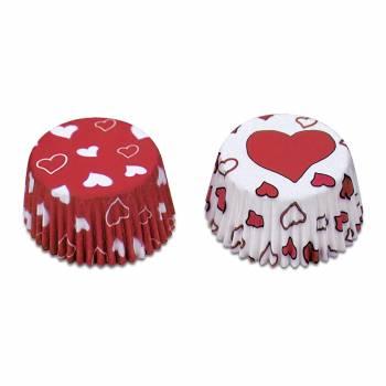 50 Mini-backförmchen Rot und Weiß Herzen