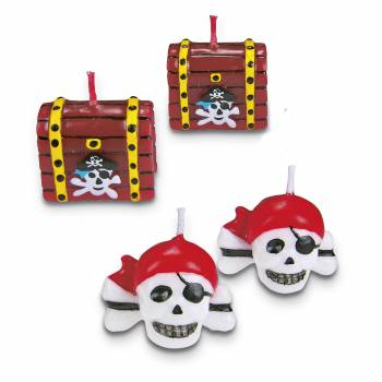 Los 4 Piratenkerzen für Kuchen