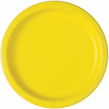 16 Tischteller aus runder Neonpappe gelb