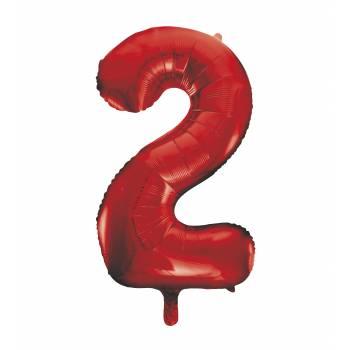 Riesiger Luftballon Ziffer 2 Rot