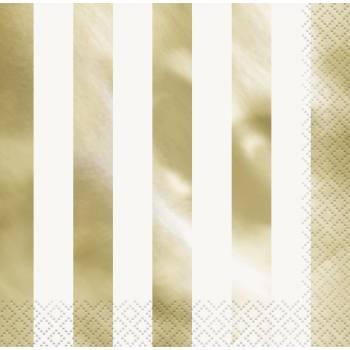 16 Servietten mettalic-gold streifen