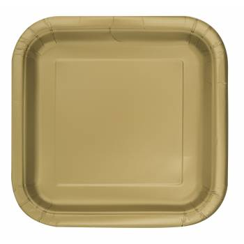 16 Dessert-Teller viereckig gold