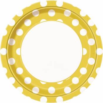 8 Teller gelbe mit tupfen