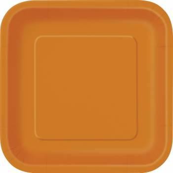 14 Teller viereckig orange