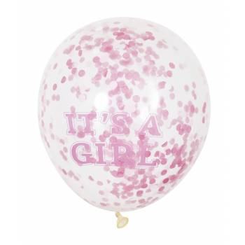 6 Luftballons Konfetti It 's a girl