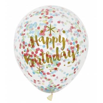 6 Luftballons konfetti Gold Happy Birtrhday