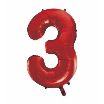 Riesiger Luftballon Ziffer 3 Rot