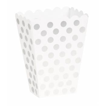 8 Pop Corn Boxen silber Mit Tupfen