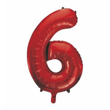 Riesiger Luftballon Ziffer 6 Rot