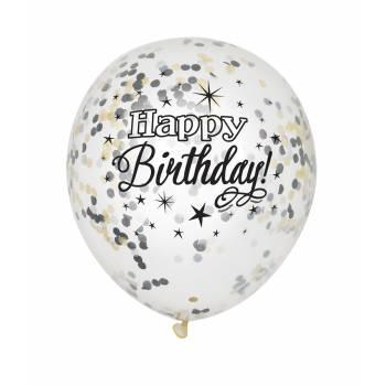 6 Luftballon Konfetti Happy Birthday gold/silber