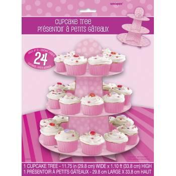 Stand mit rosa gepunkteten Cupcakes