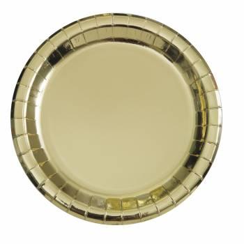 8 Runde Teller aus metallisierter Goldpappe