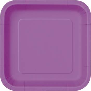 16 Dessert-Teller viereckig hell violett