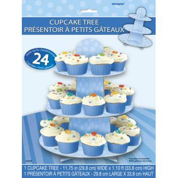 Stand mit blauen Gepunkteten Cupcakes