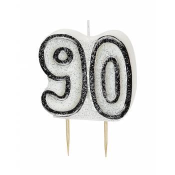 Kerze 90 Jahre Schwarz/White Glitzer