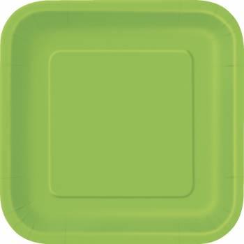 16 Dessert-Teller viereckig lime grün