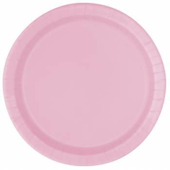 16 Teller runden Karton rosa