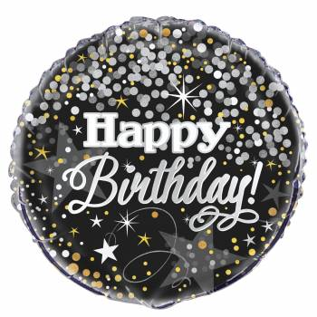 Helium Luftballon Gold/Silber Happy Birthday