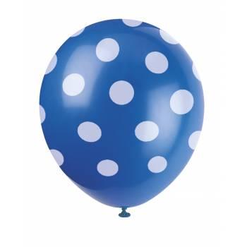 6 Luftballons blaues mit Tupfen