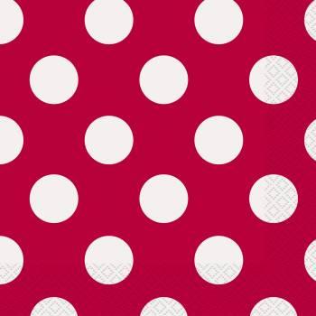 16 Servietten rot mit tupfen