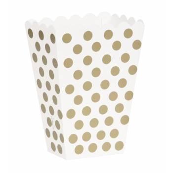 8 Pop Corn Boxen gold Mit Tupfen