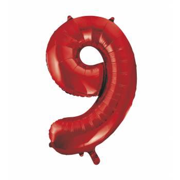 Riesiger Luftballon Ziffer 9 Rot