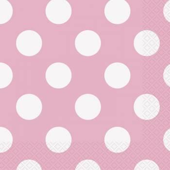 16 Dessert-servietten rosa mit tupfen