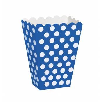 8 Pop Corn boxen blau mit tupfen