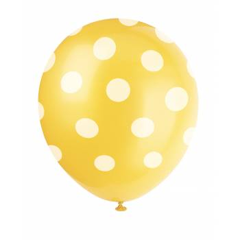 6 Luftballons gelbe mit Tupfen