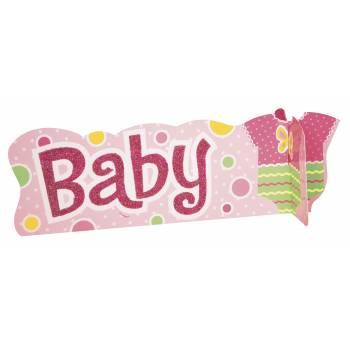 herzstück tischdeko Baby Glitzerrosa