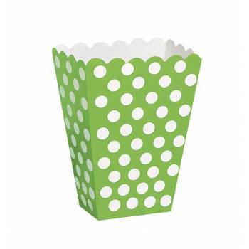8 Pop Corn boxen grün mit tupfen