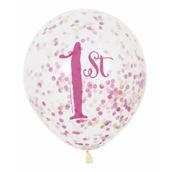 6 Konfetti-luftballons 1 Jahr Prinzessin