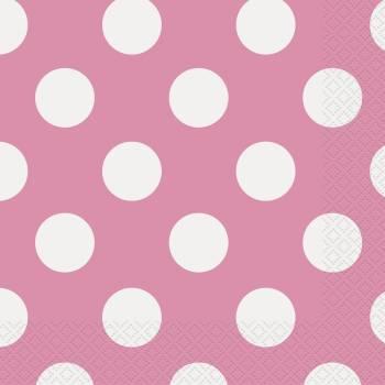 16 servietten Rosa mit tupfen