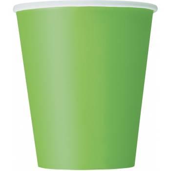 14 Pappbecher lime grün