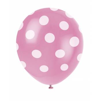 6 LuftBallons Rosa mit Tupfen