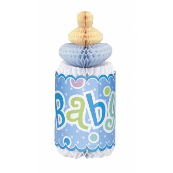 herzstück tischdeko Babyfläschen 3D blau 30cm