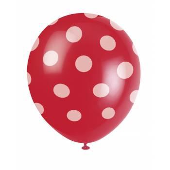 6 Luftballons rote mit Tupfen