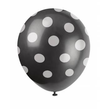 6 Ballons schwarze mit Tupfen