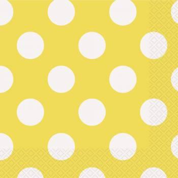 16 Servietten gelben mit tupfen