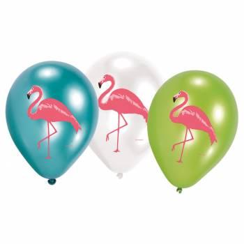 6 ballons vier flamingo rosa
