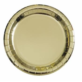 8 Runde Nachtisch-Teller aus Gold-Metallic-Karton