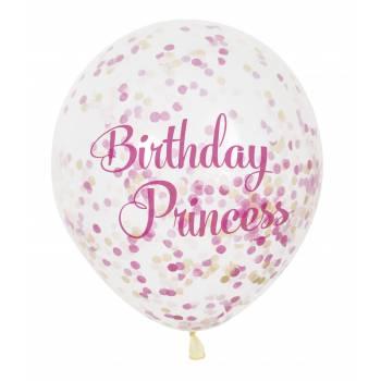 6 Luftballon Konfetti Prinzessinnen