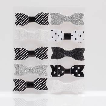 10 schwarz-weiße Knoten sortiert selbstklebend