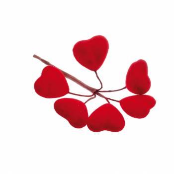 12 Blumensträuße mit 5 Herzen samtrot