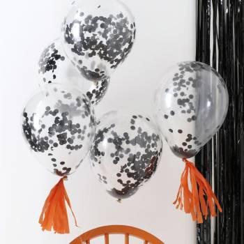 5 Ballons Konfetti schwarz